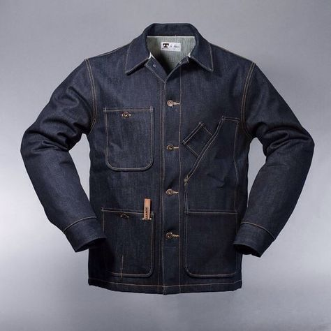 Tellason / Hickory Stripe Lined Coverall Jacket / oz. Selvedge Denim from Cone Mills