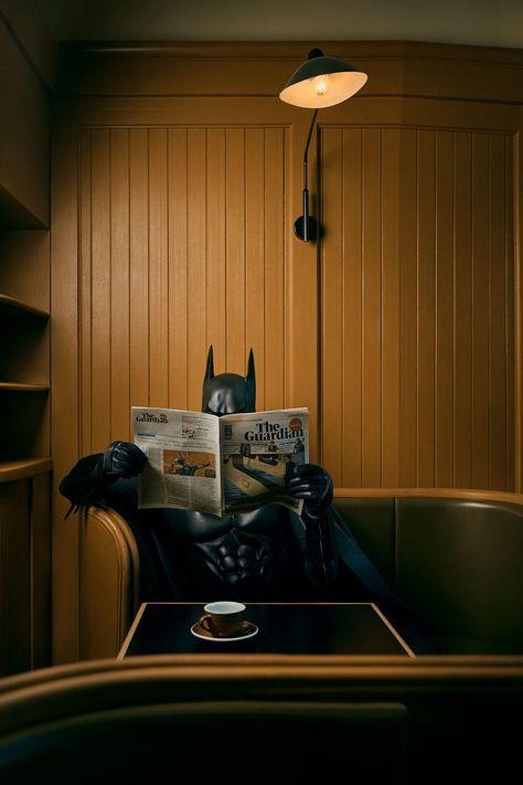 Coffee and News, picture from the series Daily Bat by Sebastian Magnani, LUMAS Artist ✓ Superman Dc Comics, Batman Comic Art, Im Batman, Batman Robin, Real Batman, Batman Poster, Gotham Batman, Batman Wallpaper, Batman Begins