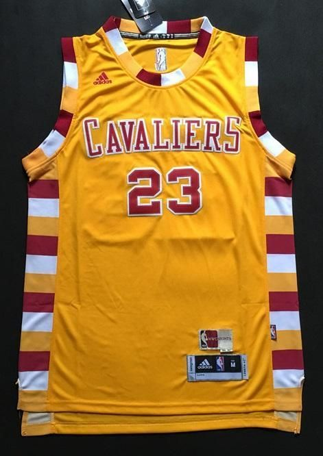 save off b072a b5ec0 Men CAVS 23 Lebron James Jersey Yellow Cleveland Cavaliers ...