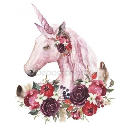 Download - Watercolor Animal Floral Boho Illustration Unicorn Flower Feather Elements Wedding — Stock Image #178051746