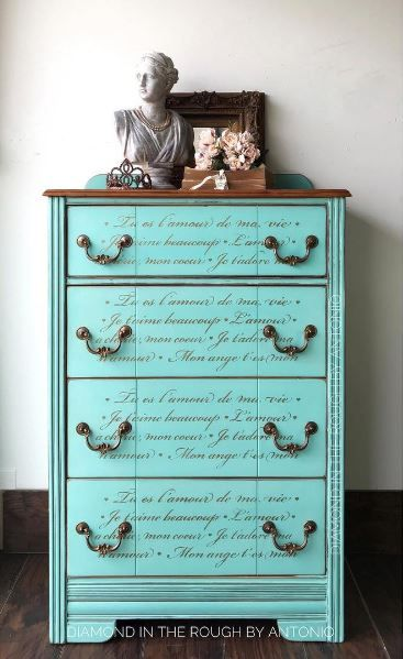 French Love Letters Furniture Stencil Stencil Furniture Shabby Chic Chest Of Drawers Shabby Chic Dresser