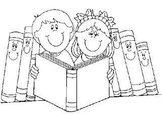 Desenhos De Criancas Lendo Livros Para Colorir