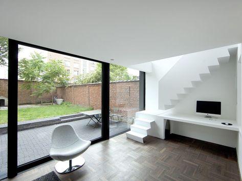 Modern interieur in renovatie rijwoning Antwerpen u2022 grote - designer chefmobel moderne buro