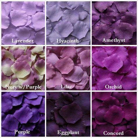Purple Rose Petals in 14 Shades, Purple Silk Rose Petals, Fake Rose Petals, Rose petals for aisle runners, flower girl petals - Wedding Colors