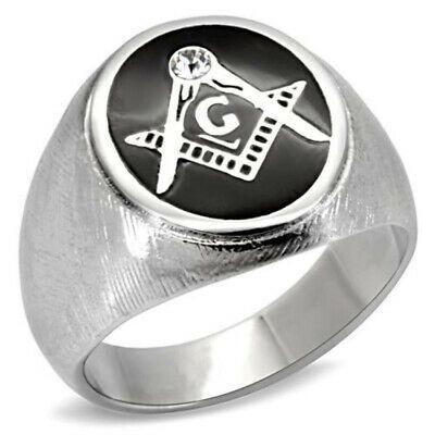 Masonic Mason Black Five Crystal Stones Silver Stainless Steel Mens Ring