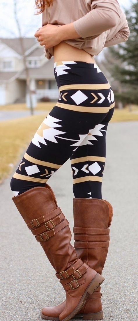 Navajo Aztec Print Leggings and love these long full brown pure leather made shoes