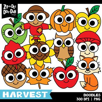 Doodle Fall Harvest Clipart Set Zip A Dee Doo Dah Designs Classroom Crafts Doodles Clip Art
