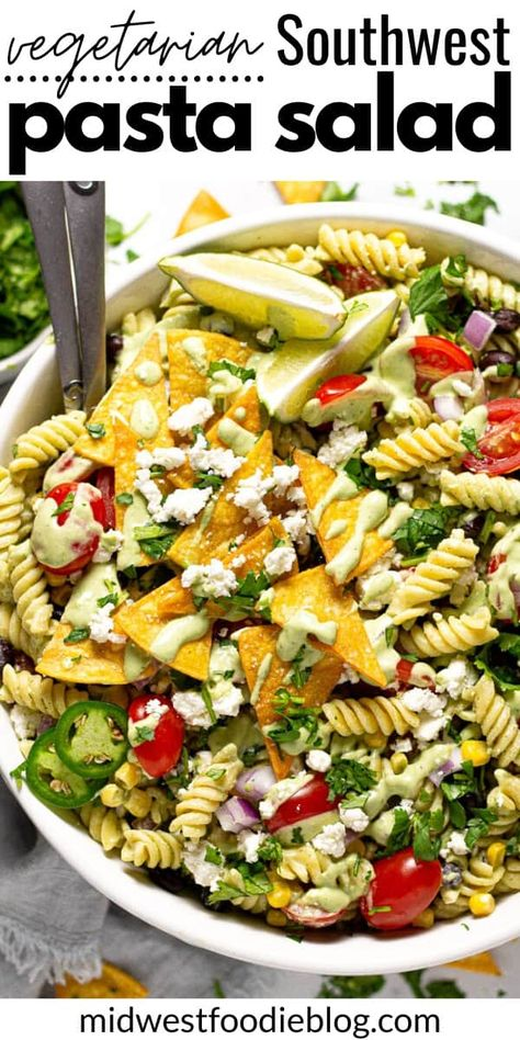 This quick and easy vegetarian Southwest pasta salad is loaded with black beans, corn, tomatoes, red onion, and al dente noodles tossed in a creamy avocado lime dressing and garnished with salty cotija cheese for the perfect summertime side dish! Ditch the mayo-laden pasta salads at your next backyard BBQ and surprise your friends with this unique pasta salad!