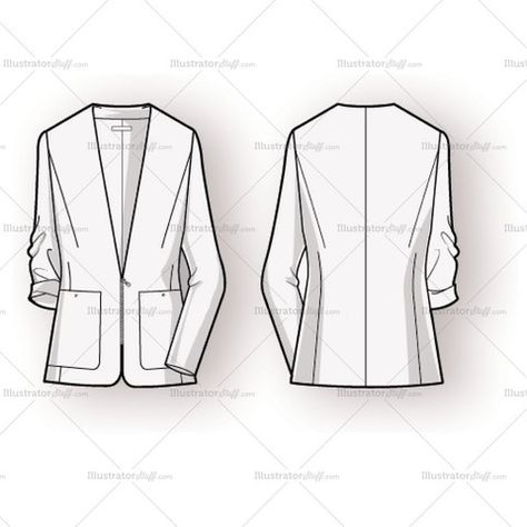 Women& blazer fashion flat has set on pockets with single button closure and exposed zipper as center front closure. File includes metal zipper pattern brush a