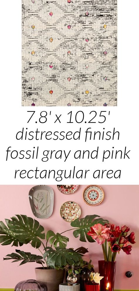 7.8' x 10.25' distressed finish fossil gray and pink rectangular area throw rug