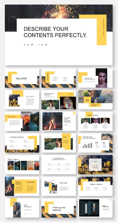 Clean & Minimal Yellow Business Presentation Template – Original and high quality PowerPoint Templates download
