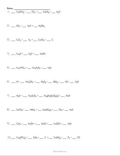 Balancing Chemical Equations Worksheet Example | Atoms | Pinterest ...