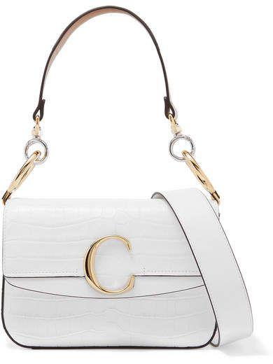 e1081ddc Chloé - Chloé C small leather-trimmed croc-effect shoulder bag in ...