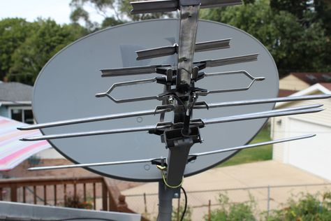 Step 1:  Mounted an RCA Outdoor Antenna to Existing Satellite Dish