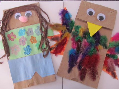 Easy paper bag puppet craft for kids