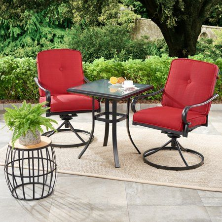 Mainstays Carson Creek 3 Piece Patio Bistro Set With Brick Red