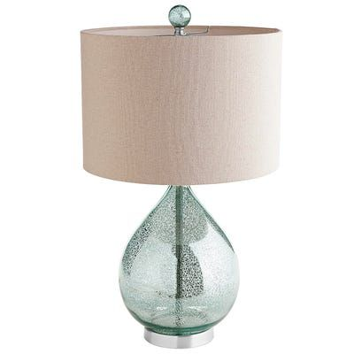 Our Mercury Glass Lamp With A Teal Luster And Natural Shade Is Worthy Of A Toast Or Two Not Only Does It Make An Artf Teal Table Lamps Mercury Glass Lamp