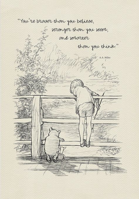 You are braver than you believe Winnie the Pooh Quotes   Etsy