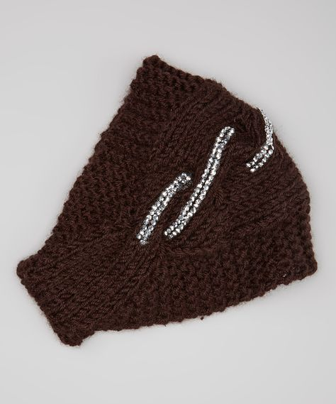 Brown Knitted Rhinestone Head Wrap - this is cute. (They also have this available in black or gray)