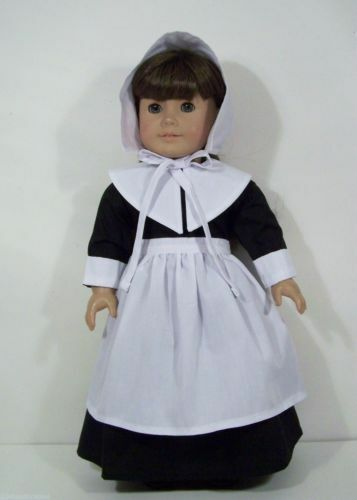 "Doll Clothes 18/"" Colonial Pilgrim Dress Black White Fits American Girl Dolls"