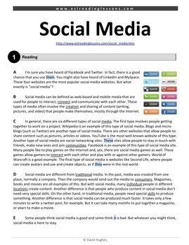 Esl Reading Practice Social Media Esl Reading Reading Comprehension Texts Reading Comprehension Worksheets