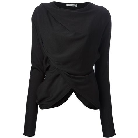 GIVENCHY draped top (11 630 SEK) ❤ liked on Polyvore featuring tops, blouses, shirts, givenchy, jackets, longsleeve shirt, long sleeve shirts, black long sleeve top, long sleeve blouse and black top