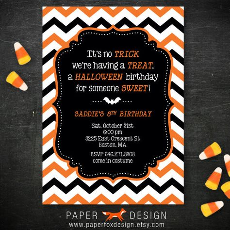 Halloween Birthday Party Invitation Diy By Paperfoxdesign On Etsy