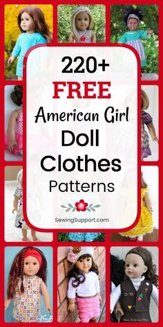 Free Doll Clothes Patterns - 18 inch American Girl Doll DIY: Over 200 free 18 inch American Girl doll clothes sewing patterns, tutorials, and projects. Many simple, quick, and Sewing Doll Clothes, Crochet Doll Clothes, Sewing Dolls, Girl Doll Clothes, Dress Clothes, Dress Sewing, Diy Clothes, Barbie Clothes, Doll Patterns Free