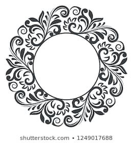 Black And White Round Floral Frame Vector Illustration Circular Flower Design Isolated On White Background
