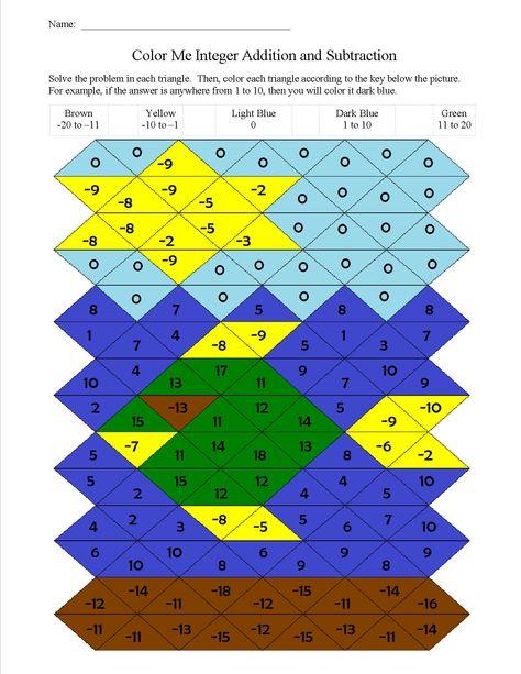 color me integer addition and subtraction worksheet  coloring pages adding and subtracting integers maze bonus mini