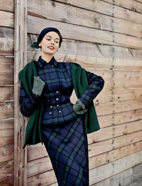 Fashion/ Winter Fashion Inspiration from Joan Whelan in Scottish plaid wool suit by Manguin, hat by Svend, photo by Pottier, Style/ Winter Style