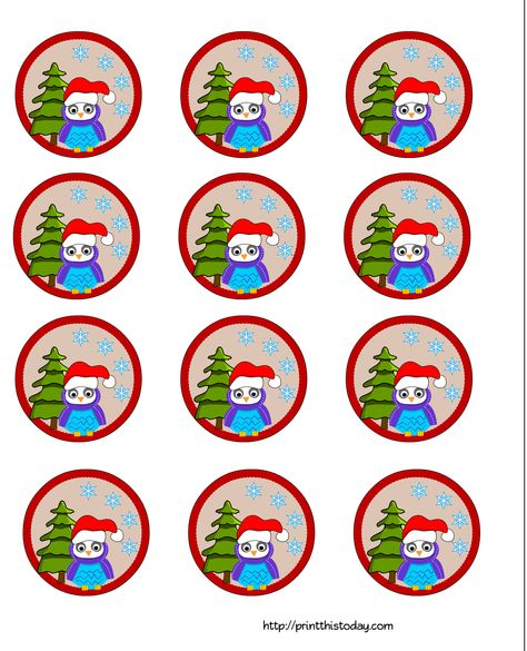 Owl Christmas Printable Stationery Bookmarks Candy Wrappers Labels