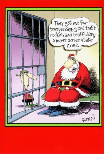 Santa In Jail Funny Humorous Nobleworks Christmas Card Funny Christmas Cartoons Holiday Humor Christmas Humor