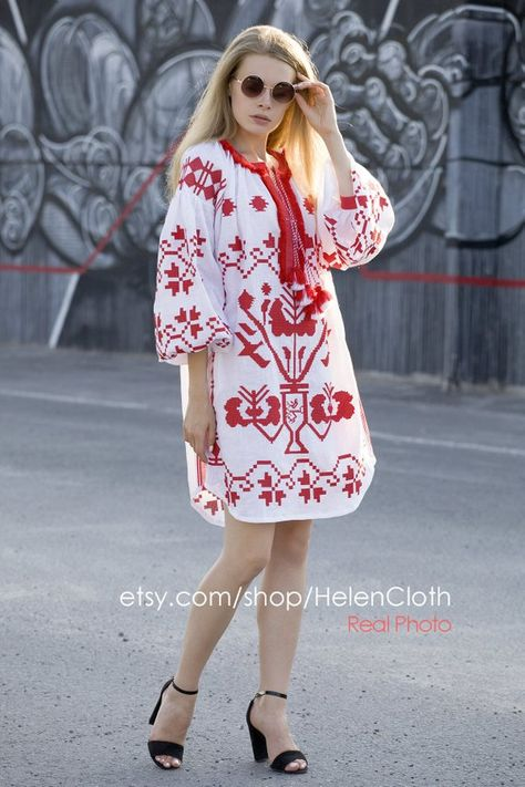 caed496a15 White linen embroidered dress vyshyvanka. Ukrainian vyshyvanka dress ...