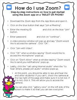 Distance Learning Zoom Meeting Information Instructions For Parents Editable Distance Learning Online Kindergarten Learning Games For Kids
