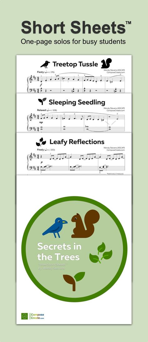 Late Elementary Short Sheets™ include 3 one page piano solos that are easy to teach and help students learn and progress more quickly. This set is about Secrets in the trees and is appealing to kids, teens, and adults. #piano #teacher #teaching #repertoire #elementary #solo #piece #short #sheet #music #download #downloadable #pdf