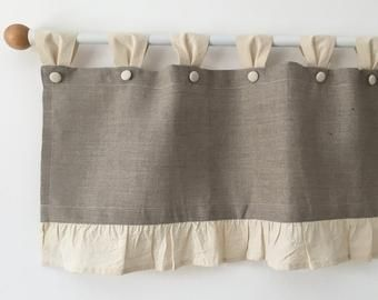 French Country Rustic Curtains Cottage Kitchen Ruffle Valance Simple Window Treatment Natural Cream Cotton Farmhouse Custom Curtains Ruffled