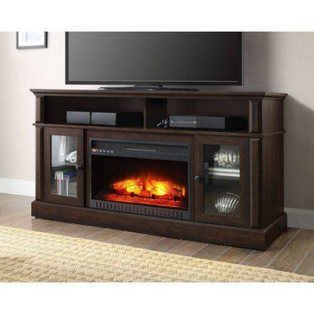 Barston Laminated Wood Fireplace Dark Rustic Brown Tv Stand