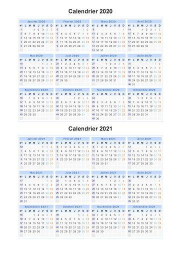 Calendrier Grégorien 2021 Gratuit Calendrier 2020 et 2021 Imprimable en 2020 | Calendrier