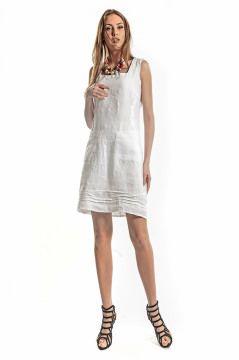 Otantik Hazen Askili Keten Elbise Beyaz Etnik Esintiler Elbise Moda Stilleri Mini Elbiseler