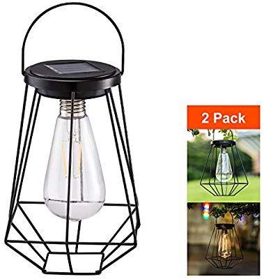 Outdoor Solar Lanterns Lamps 2 Pack Tabletop Filament Led Edison Bulbs Hanging Solar Powered Outdoor Solar Lanterns Solar Lanterns Decorative Solar Lanterns