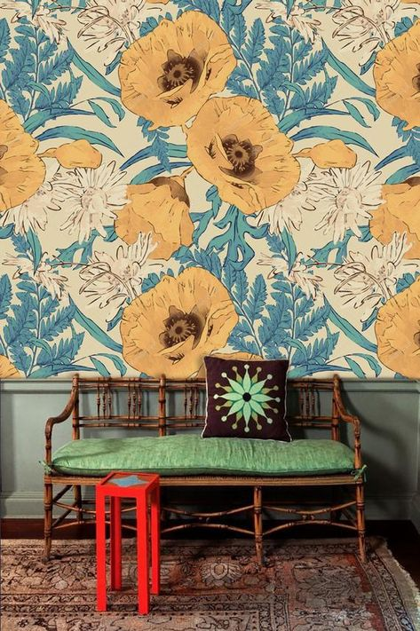 Pressed Flowers Wallpaper Wall Decal