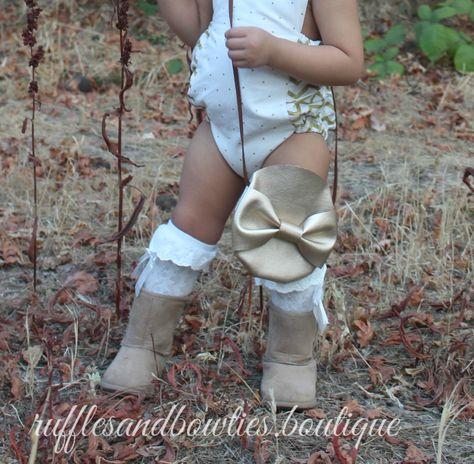 Toddler Boho Gold Metalic Bow Purse - Coin Purse - Leather toddler purse - Leather Toddler Cross Body Bag - Leather Bow purse - Boho Baby