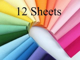 Wool Felt Fabric - CHOOSE TWELVE SHEETS - 8 x 12 - Note your choice of colors in 'Notes to Seller' upon checkout