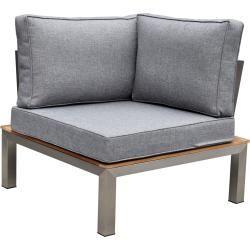 Outflexx Eckelement Silber Grau Edelstahl Fsc Teakholz Textil