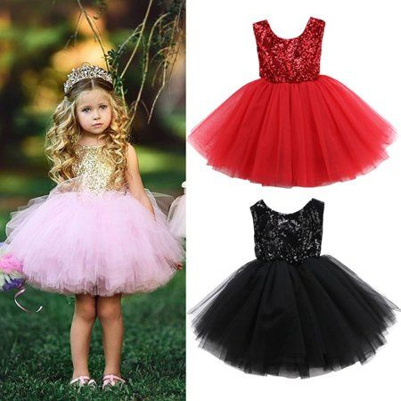 Kids Girls Baby Flower Sequins Party Dress Wedding Bridesmaid Princess Dresses
