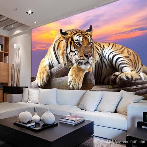 Custom Photo Wallpaper Tiger Animal Wallpapers 3D Large Mural Bedroom Living Room Sofa TV Backdrop 3D Wall Murals Wallpaper Roll Wallpapert Wide Desktop Wallpaper From Feifan66, $27.14| DHgate.Com