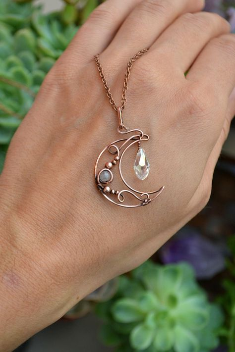 Wire work jewelry - Copper Crystal Moon Necklace Unique Gemstone Pendant Boho Gemstone Necklace Moon Jewelry Wire Wrapped Jewelry Crystal Necklace Under 30 – Wire work jewelry Moon Jewelry, Copper Jewelry, Crystal Jewelry, Beaded Jewelry, Handmade Jewelry, Jewlery, Fine Jewelry, Jewelry Making, Copper Wire Crafts