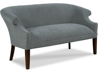 This Settee Has Transitional Styling The Curved Back Flows Into The Scoop Back Rolled Arms Trimmed With Panel Fairfield Chair Upholstered Seating Soft Seating