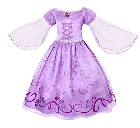 5a8363122425 Filare Rapunzel Dress Halloween Girls Mesh Sleeve Princess Birthday Party  Outfit 8T 7-8 Years Best Halloween Costumes   Dresses